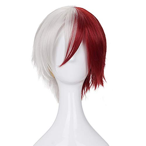 Morvally Short Half Silver White Half Red Synthetic Hair Wig for Anime Halloween Costume Cosplay Wigs