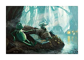 Bucket Try It You Must Star Wars Yoda Kermit The Frog Parody – 32 x 48 Gallery Wrapped Canvas Wall Art
