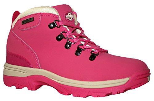 Botas de piel para mujer, ligeras, impermeables, ideales para caminar, senderismo o excursionismo fucsia