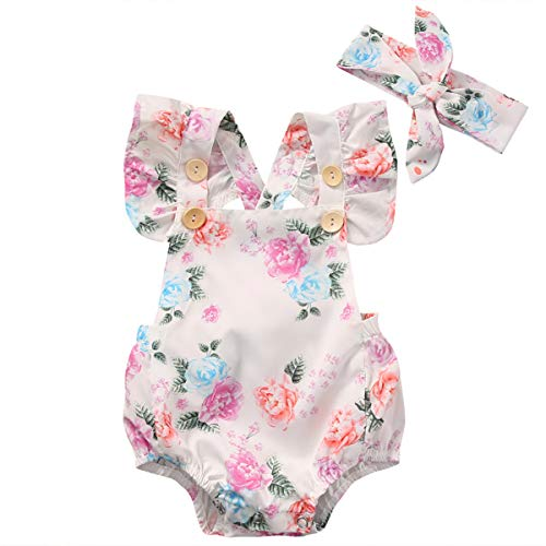 Floral Baby Romper Clothes Set Summer Newborn Girl Ruffled Sleeve Bodysuit Jumpsuit + Headpiece 2pcs Outfit Sunsuit Complete Moon Gift