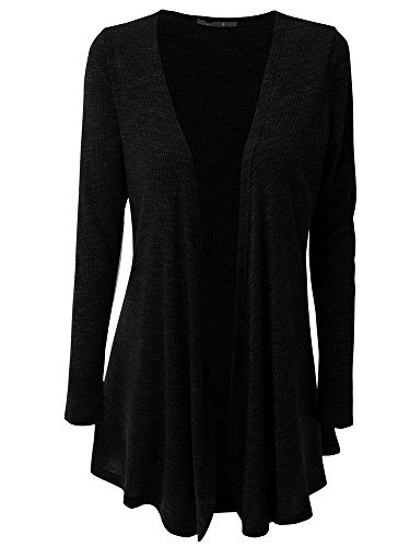 HILEELANG Women Open Front Drape Hem Lightweight Cardigan Knit Thin Sweaters Cover Up Tunic Wrap Tops Black,X-Large (Drape Front Knit)