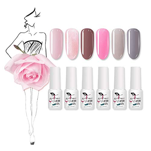 Mobray UV Gel Nail Polish Set, Soak Off Gel Polish Beauty and Nail Care Products 6 Colors 7ml Pure Color UV LED Nail Light Lamp (Kit 1) from Mobray