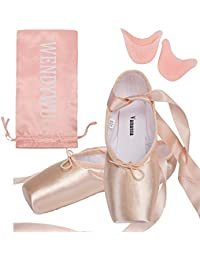 Girls Womens Dance Shoe Pink Ballet Pointe Shoes (1, 1)