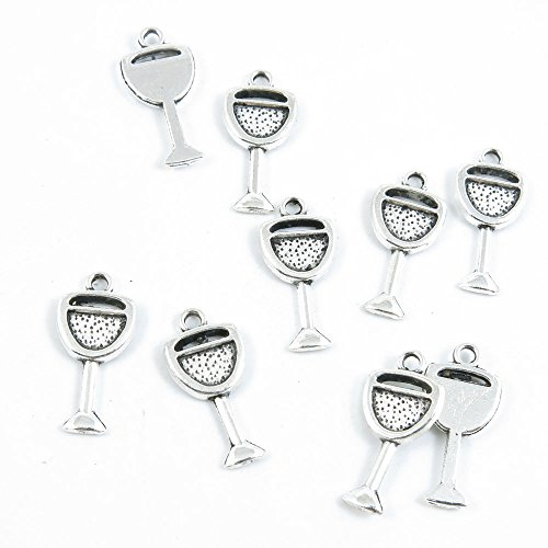 Qty 20 Pieces Silver Tone Jewelry Making Charms Filigrees G6IA7 Wine Juice Cup Glass Goblet