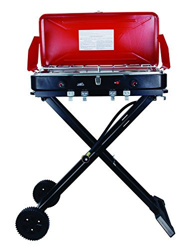 Texsport Travel n Grill Portable Propane Gas Grill on Wheels for Outdoor Camping, Beach or Tailgate