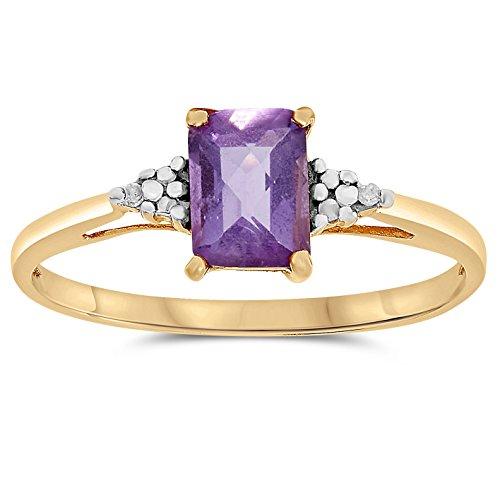 - 10k Yellow Gold Rectangular Shape Purple Amethyst and Diamond Ring, Birthstone of February