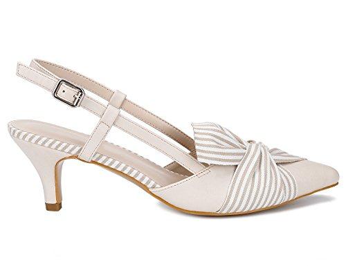 Gattino Greatonu Fiocco A Corte Righe Papillon Beige Sandalo Scarpe Donna Con Tacchi Pompe TwfqHR