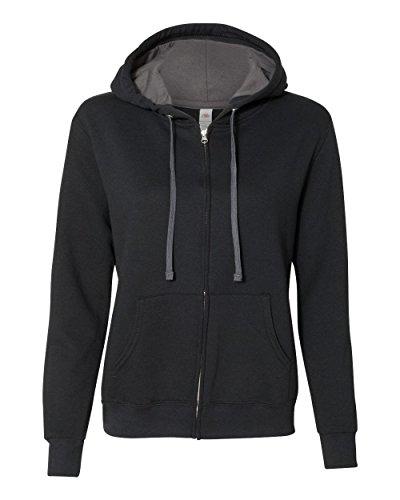 Fruit of the Loom Womens Sofspun Full-Zip Hooded Sweatshirt (LSF73R) -Black -S (Fruit Of The Loom Hooded)