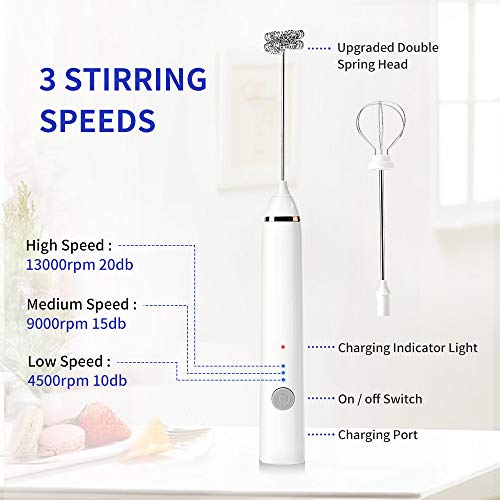 Milk Frother, Rechargeable Hand-Held Electric Milk Frother 3 Adjustable USB Charging Can Be Used for Bulletproof Coffee Protein Drinks Matcha Coffee Whisk (White)