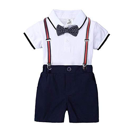 OwlFay Baby Peuter Jongens Outfits Set Pasgeboren Baby Kleding Heren Pak Romper + Jarretje Shorts + Strikje 3 STKS…