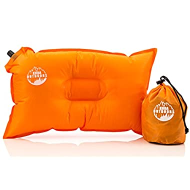 Kuda Outdoors- The Best Inflatable Travel Pillow, Self Inflating Travel Pillow, Air Travel Pillow. A comfortable inflatable pillow for the airplane, beach, camping, or relaxing outdoors. (Orange)