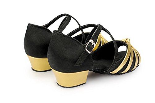 KBTS010A Gold Latin Satin Miyoopark Women's Black Salsa Wedding Knot Sandals Strappy Tango dqBXw