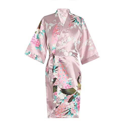 Nightgown Girls Personalized (ellenwell Girls Peacock Satin Kimono Robe Fashion Bathrobe Nightgown(8,Pink))