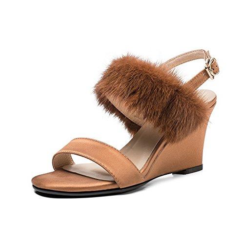 AdeeSu Womens Fringed Dress Duffel-Style Urethane Sandals SLC03933 Brown aYcCg