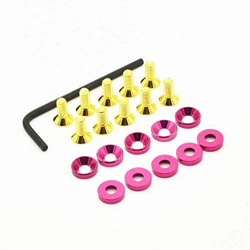 DiDi/IRC Peachpink M4 Countersunk Washers Aluminum (10p) Flat Head Titanium Gold Allen Screw M4 x10 (10p) and Black L-Shape Wrench (1p) for for RC Vehicle Boat Drone Quadcopter ()