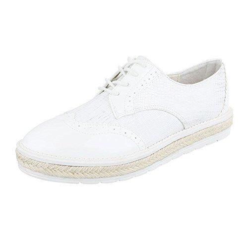 Ital-Design - Zapatos Planos con Cordones Mujer Weiß FC-E37