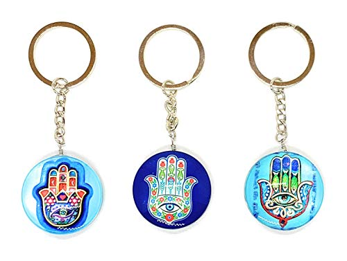 Lucky Hamsa and Evil Eye Good Luck Keychain Ring, Handbag Charm for Good Luck and Blessing, Great Gift (Blue)