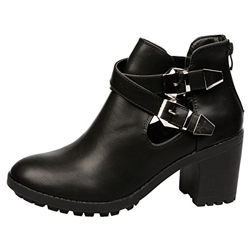 Feet First Fashion Gina Womens Mid Heel Chunky Cut Out Ankle Boots Black Faux Leather AJg4DW7onb