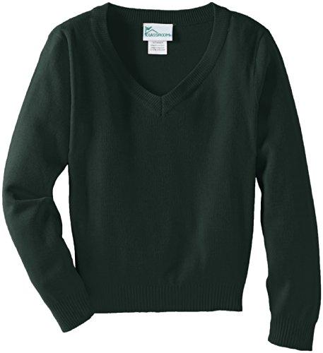 Boys Uniform Sweater (CLASSROOM Big Boys' Uniform Long Sleeve V-Neck Sweater, Hunter, Medium)