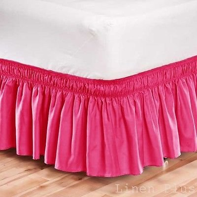 LINEN Elastic Bed Skirt Dust Ruffle Easy Fit/Queen Size/Pink