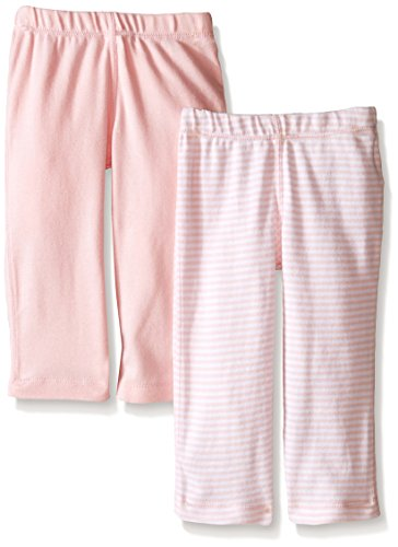 Burts Bees Baby-Set of 2 Bee Essentials Footless Pants, 100% Organic Cotton, 1 Solid + 1 Stripe, Blossom,0-3 Months