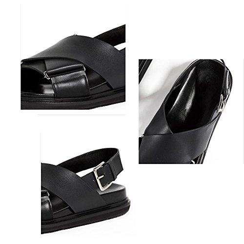 semplice singole Giallo di plastica dimensioni QIDI UK3 Nero Colore nero sandali EU36 giallo fondo scarpe piatto estate femminile 5 tSPxxfqw
