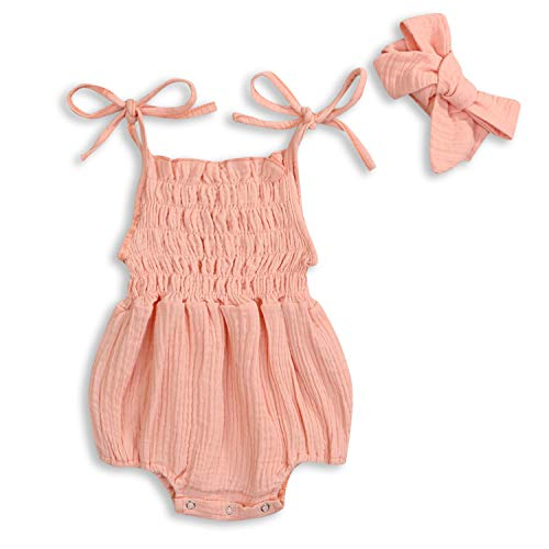 KCSLLCA Baby Girls Sleeveless Romper Set Solid Color Sling Backless Jumpsuit Outfits with Headband (Pink, 0-3 Months)