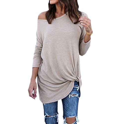 Long Sleeve Knit Blouse (Women's Long Sleeve O Neck Twist Knot Front Loose Casual Blouse Top L)