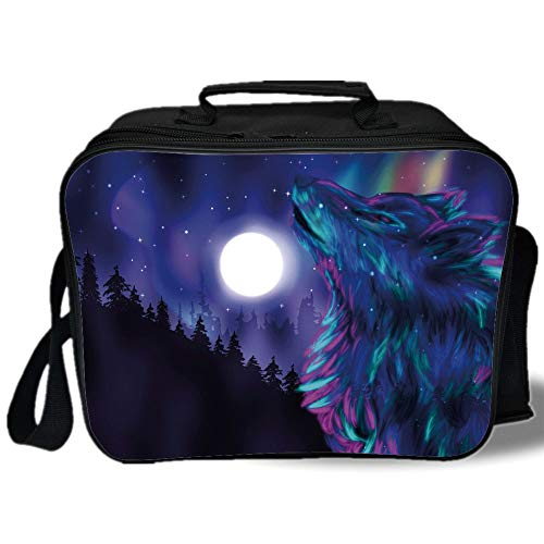 Insulated Lunch Bag,Moon,Northern Imagery with Aurora Borealis Wolf Spirit Magical Forest Starry Night Decorative,Indigo Aqua Magenta,for Work/School/Picnic, Grey
