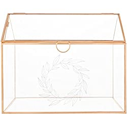 Cathy's Concepts Personalized Glass Terrarium Reception Gift Card Holder, Rose Gold