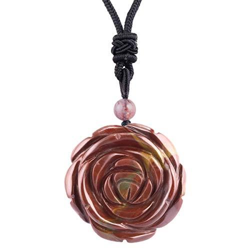rockcloud Hand Carved Carnelian Rose Flower Crystal Stone Pendant Necklace for Women