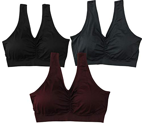 KINYAOYAO Women's Plus Size Comfort-Blend Flex Fit Pullover Light Support Sport Bra 3 Pack,Style-UB01,4X