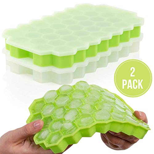 (Silicone Ice Cube Trays With Lids, 2 Pack, Food Grade BPA Free & Flexible Easy Release - Ice Buddy - Small Ice Cube Molds for Drinks, Whiskey, Cocktails)