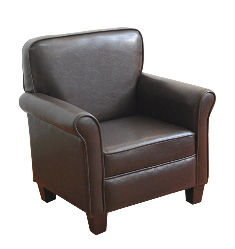 HomePop Youth Leatherette Club Chair, Dark Brown