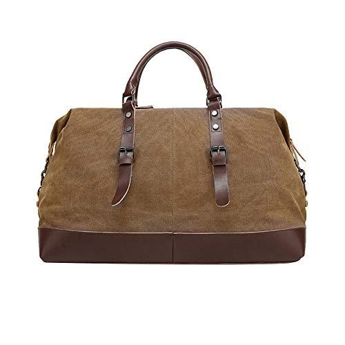 Timagebreze män axlar bagage väskor business casual vintage enkel tygväska för kvinnor stor kapacitet handväska kanvas resa (brun)