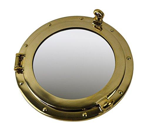 Nautical Tropical Imports Solid Brass Wall Mount Porthole Mirror 12 - Bathroom Mirrors Cabinet Porthole
