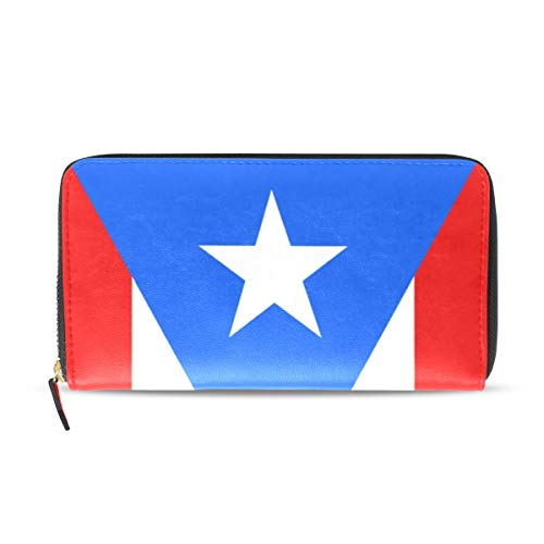 Wallet Long Clutch Puerto Rico Flag - Card Holder Organizer, PU Leather Zipper Purse for Men Women (Puerto Wallet Rico)