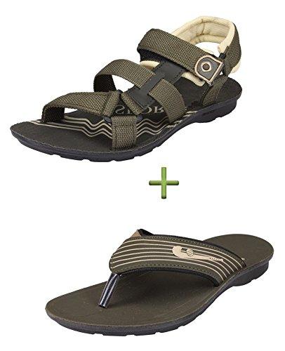 Tempo Mens Mehandi Combo Of Sandals & Slippers(7)