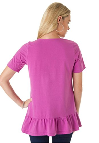 Roamans Women's Plus Size Embroidered Tee