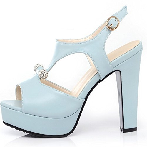 d88961a3 RAZAMAZA Mujer Peep Toe Sandalias de Fiesta Moda Plataforma Tacon Alto  Slingback Zapatos de Hebilla Qbm5cC1tD