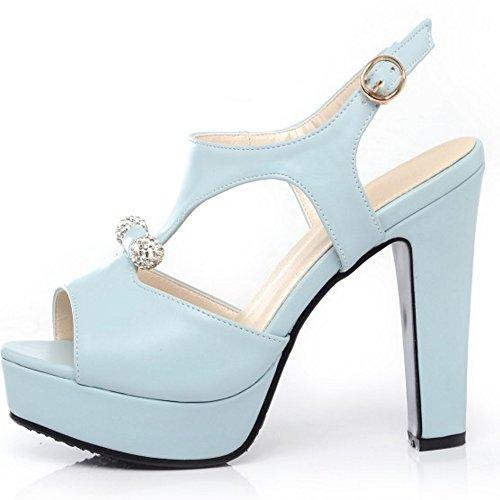 RAZAMAZA Mujer Peep Toe Sandalias De Fiesta Moda Plataforma Tacon Alto Slingback Zapatos De Hebilla Azul