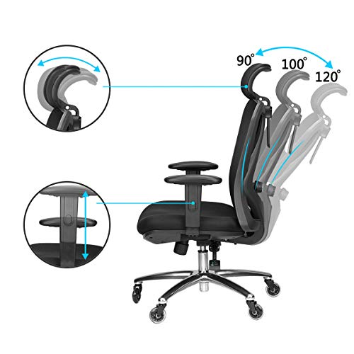 Duramont Ergonomic Adjustable Office Chair with Lumbar Support and Rollerblade Wheels - High Back with Breathable Mesh - Thick Seat Cushion - Adjustable Head & Arm Rests, Seat Height - Reclines by Duramont (Image #4)