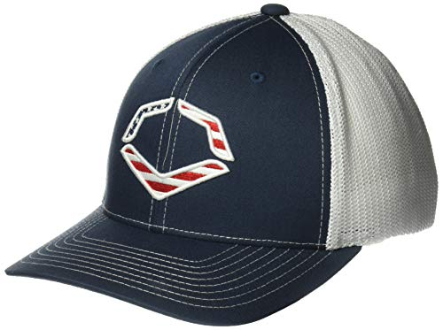 Wilson Sporting Goods Evoshield USA Logo Flexfit Trucker Hat, Navy, Large/X-Large(7 3/8-7 5/8) - Majestic Sporting Goods