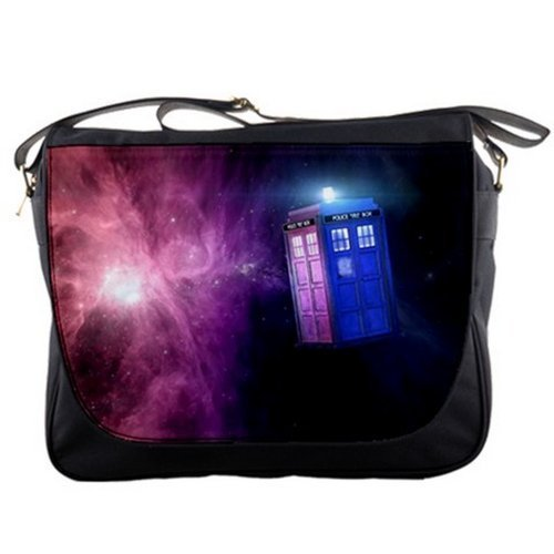Tardis Police Box in Space Doctor Who Shoulder Messenger Bag