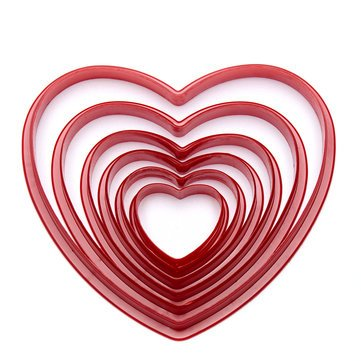 Bakeware & Accessories - 6pcs/Set Heart Shaped Plastic Cake Mold Cookie Cutter Biscuit Stamp Sugarcraft Cake - Town Center Charles