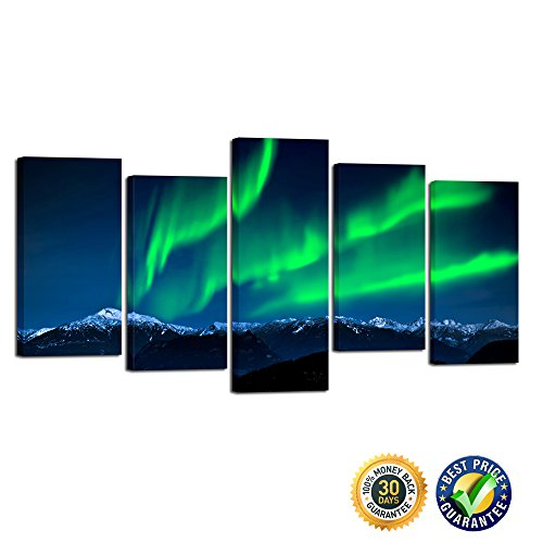 22' Art Print Poster (Kreative Arts- 5 Piece Wall Art Painting Northern Lights Over Snow Mountain Norway Nature Lighted Prints On Canvas Landscape Pictures Framed For Home Decor (Medium Size : L 40'' x H 22''))