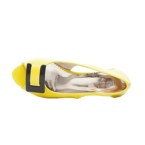 AalarDom Pull Heels Yellow Low Solid Sandals Patent Leather On Toe Womens Peep rB4qrw