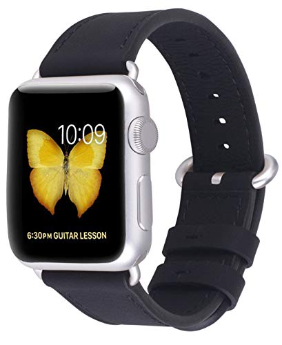 JSGJMY Compatible with Iwatch Band Women Genuine Leather Replacement Strap Compatible with Series 4 3 2 1 Sport Edition(38mm 40mm S/M,Black+Silvery White Clasp)