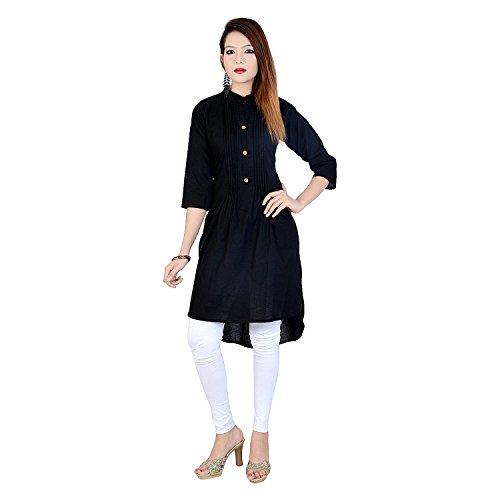 Chichi Indian Women Kurta Kurti 3/4 Sleeve Small Size Plain Short Black Top by CHI