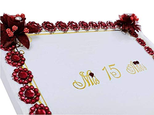 Burgundy Mis Quince Años Guest Book Quinceañera Libro De Firmas Sweet 15 Gift